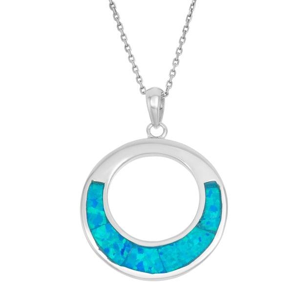 La Preciosa Sterling Silver Blue Opal Open Circle Pendant