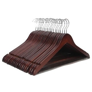 J.S. Hanger Multi-functional High Grade Solid Wooden Suit Hangers (Set of 20)