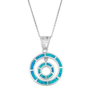 La Preciosa Sterling Silver Opal Double Circle Pendant