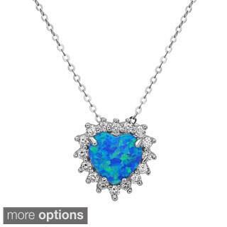 La Preciosa Sterling Silver Opal and Cubic Zirconia Heart Pendant