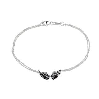 La Preciosa Sterling Silver Double-Strand Angel Wings Bracelet