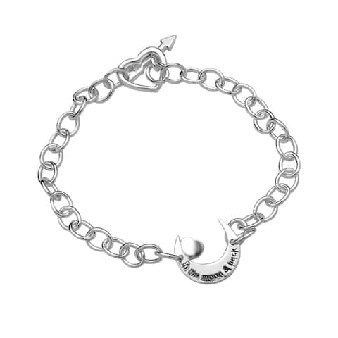 La Preciosa Sterling Silver 'To the Moon and Back' Moon and Heart Toggle Bracelet