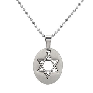 La Preciosa Stainless Steel Men's Star of David Oval Pendant