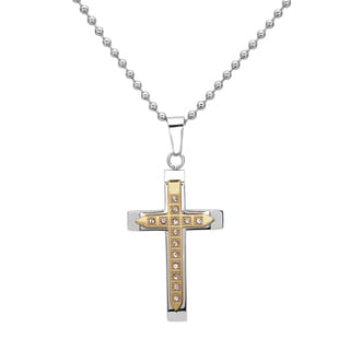La Preciosa Stainless Steel Men's Two-Tone Cubic Zirconia Cross Pendant