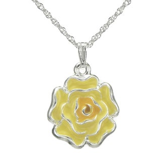 Handmade Jewelry by Dawn Yellow Enamel Flower French Rope Chain Necklace