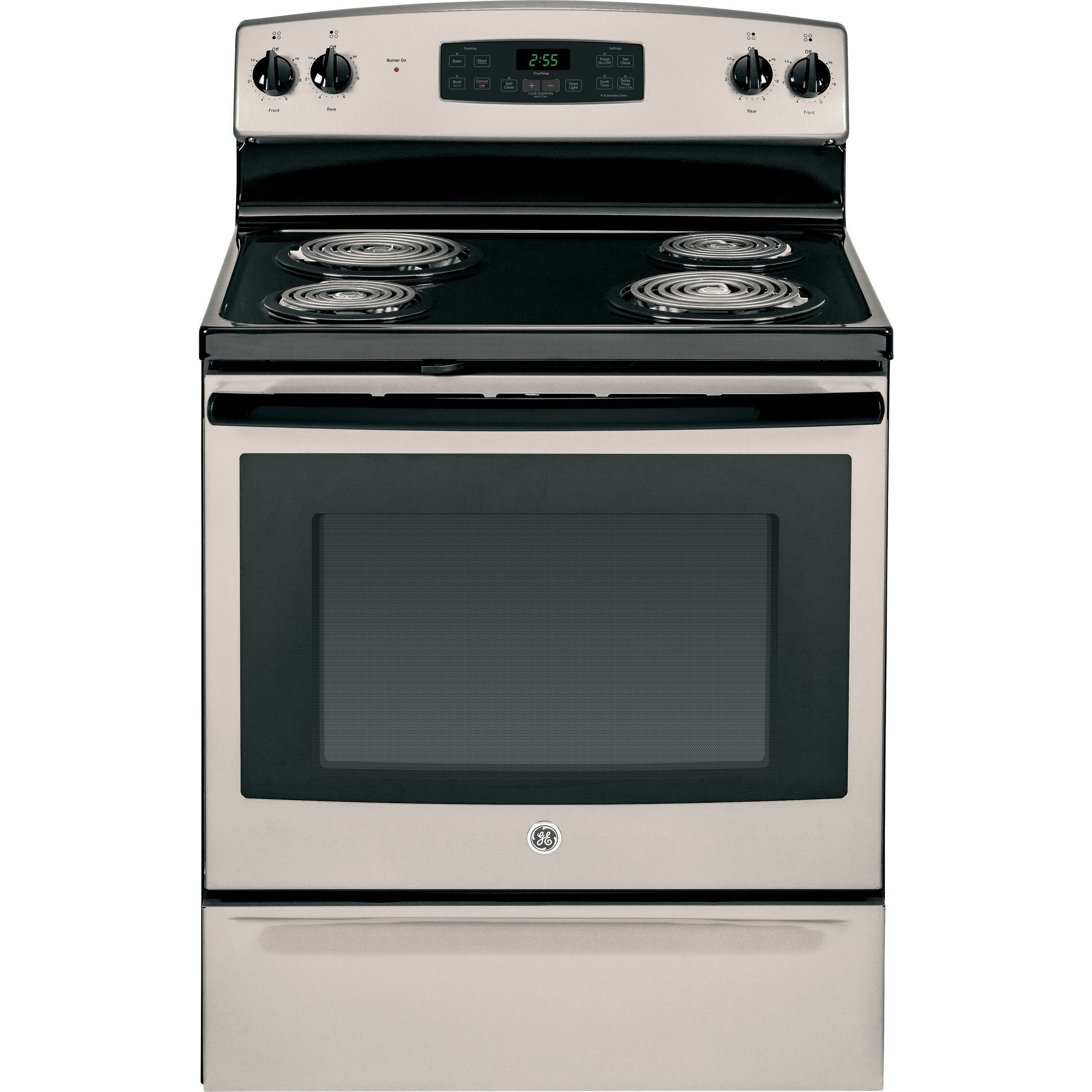 GE 30 IN Free Standing Electric Range with Coil Burners in Black White