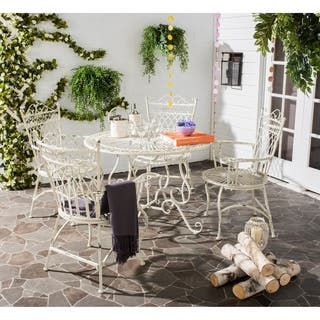 Safavieh Outdoor Living Rustic Thessaly Antique White Dining Set 5 Piece