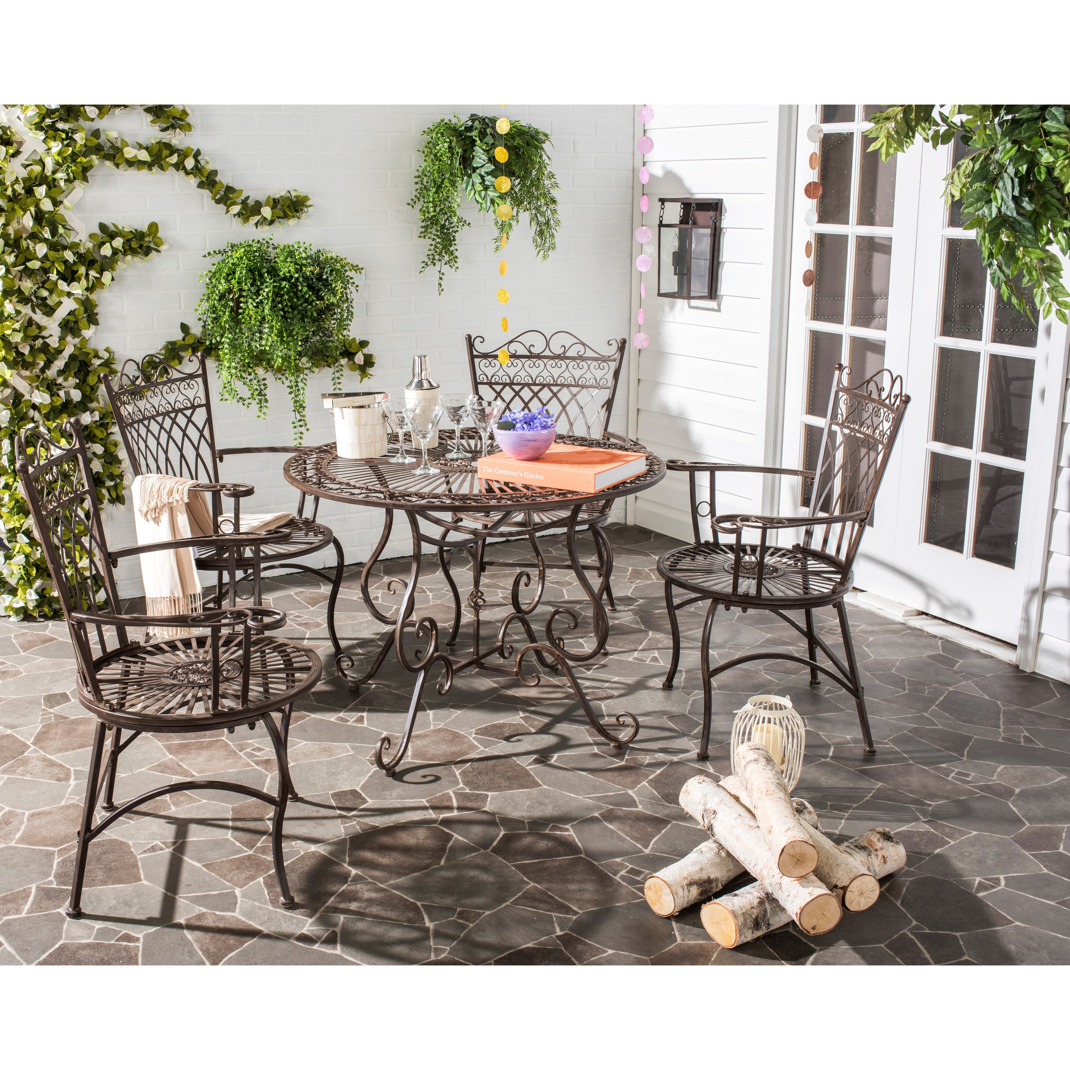 Details about Outdoor Dining Set 5 Table Chairs Vintage Rustic Wrought Iron  Patio Furniture