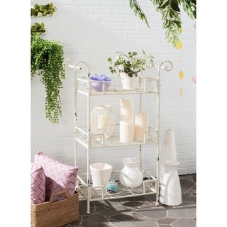 Safavieh Outdoor Living Rustic Noreen Antique White Iron 3-Tier Shelf