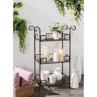 Safavieh Outdoor Living Rustic Noreen Rustic Brown Iron 3-Tier Shelf