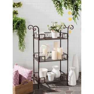 "Safavieh Outdoor Living Rustic Noreen Rustic Brown Iron 3-Tier Shelf - 28.3"" x 12.3"" x 42.3"""