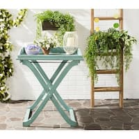Safavieh Outdoor Living Covina Beach House Blue Tray Table