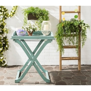 """Link to Safavieh Outdoor Living Covina Beach House Blue Tray Table - 18.9""""x27.2""""x31.5"""" Similar Items in Outdoor Coffee & Side Tables"""