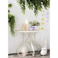 Safavieh Outdoor Living Rustic Annalise Antique White Iron Accent Table