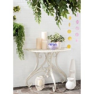 """Safavieh Outdoor Living Rustic Annalise Antique White Iron Accent Table - 35.5"""" x 18.5"""" x 29.3"""""""