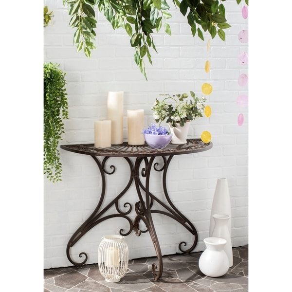 """Safavieh Outdoor Living Rustic Annalise Rustic Brown Iron Accent Table - 35.5"""" x 18.5"""" x 29.3"""""""