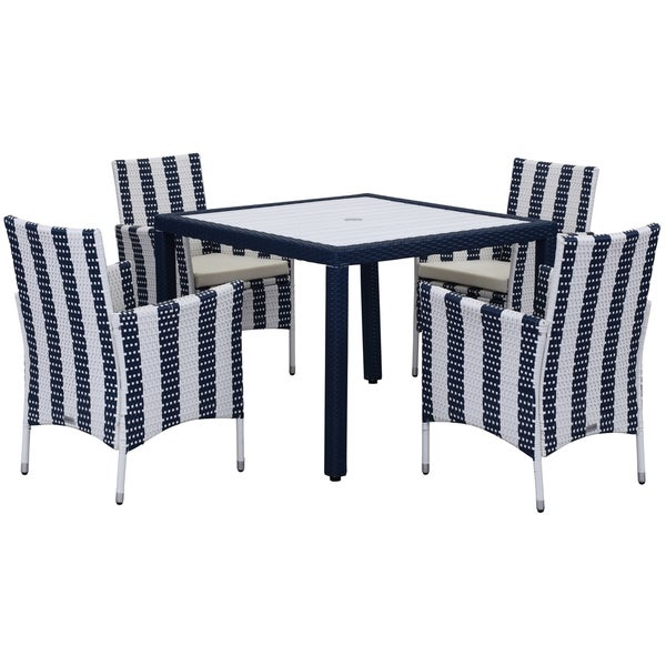 Safavieh Outdoor Living Cooley Black White Dining Set 5: Safavieh Outdoor Living Frazier Navy/ White Dining Set (5