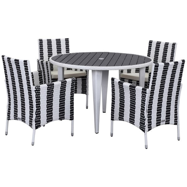 Safavieh Outdoor Living Cooley Black White Dining Set 5