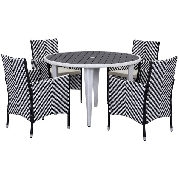 Safavieh Outdoor Living Cooley Black/ White Dining Set (5 Piece)