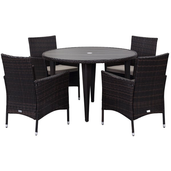 Safavieh Outdoor Living Cooley Black White Dining Set 5: Shop Safavieh Outdoor Living Cooley Brown/ Sand Dining Set