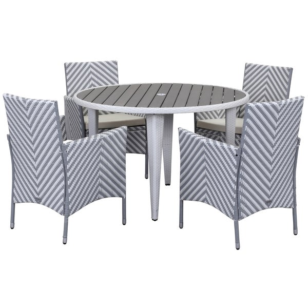 Safavieh Outdoor Living Cooley Black White Dining Set 5: Shop Safavieh Outdoor Living Cooley Grey/ White Dining Set