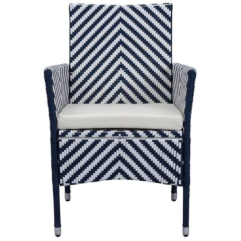 Safavieh Outdoor Living Cooley Navy/ White Dining Set (5-piece) - 0