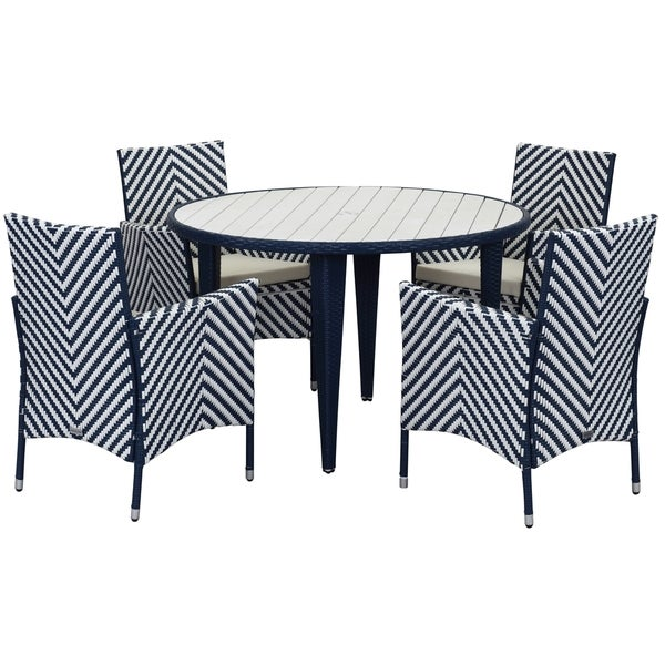 Safavieh Outdoor Living Cooley Black White Dining Set 5: Shop Safavieh Outdoor Living Cooley Navy/ White Dining Set