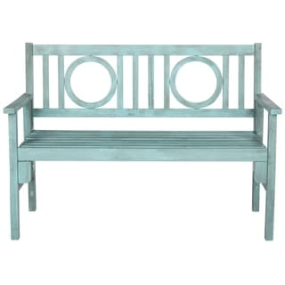"Safavieh Outdoor Living Piedmont Beach House Blue Folding Bench - 48.4"" x 23.6"" x 34.7"""