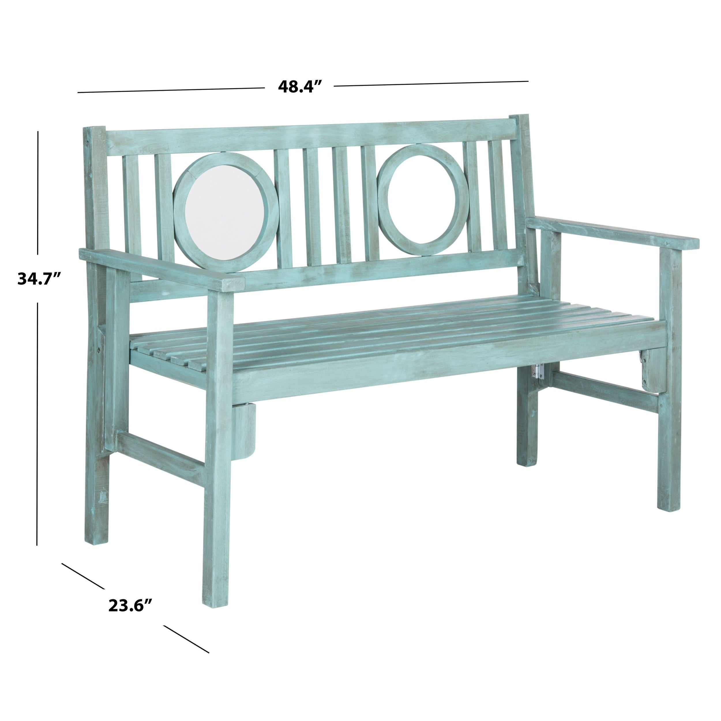 Admirable Safavieh Outdoor Living Piedmont Beach House Blue Folding Bench 48 4 X 23 6 X 34 7 Andrewgaddart Wooden Chair Designs For Living Room Andrewgaddartcom