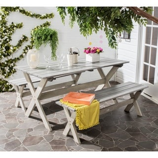Safavieh Outdoor Living Marina Grey/ White Bench and Table Set (3-piece)
