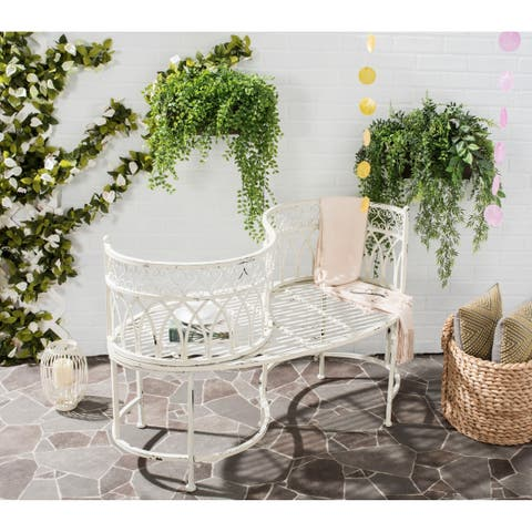 "Safavieh Outdoor Living Rustic Lara Kissing Antique White Iron Bench - 44"" x 24"" x 30.8"""
