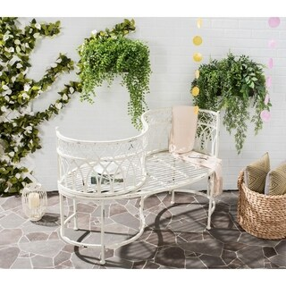 Safavieh Outdoor Living Rustic Lara Kissing Antique White Iron Bench