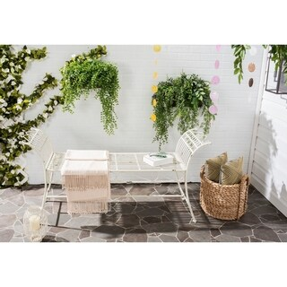 Safavieh Outdoor Living Rustic Hadley Antique White Iron Bench