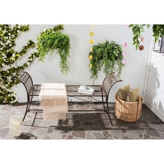 Safavieh Outdoor Living Rustic Hadley Rustic Brown Iron Bench