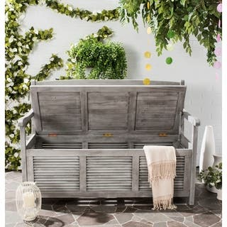 "Safavieh Outdoor Living Brisbane Grey Storage Bench - 50"" x 24"" x 35.2"""
