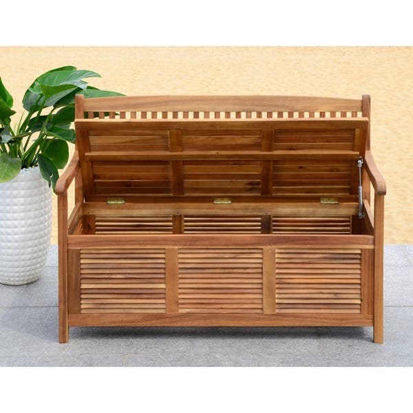 Astonishing Shop Safavieh Outdoor Living Brisbane Brown Storage Bench Lamtechconsult Wood Chair Design Ideas Lamtechconsultcom
