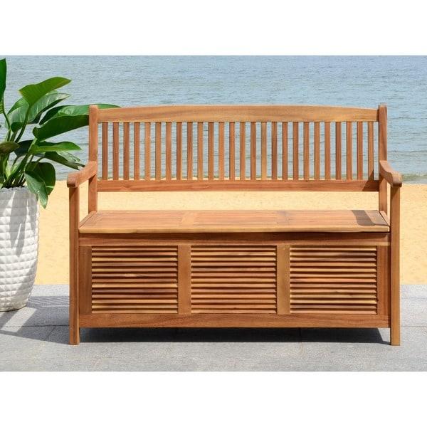 shop safavieh outdoor living brisbane brown storage bench on sale free shipping today. Black Bedroom Furniture Sets. Home Design Ideas