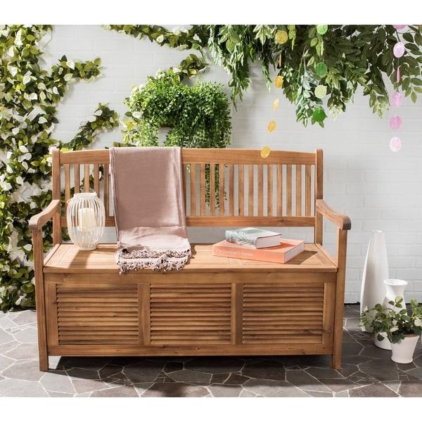Shop Safavieh Outdoor Living Brisbane Brown Storage Bench ... on Outdoor Living Sale id=21253
