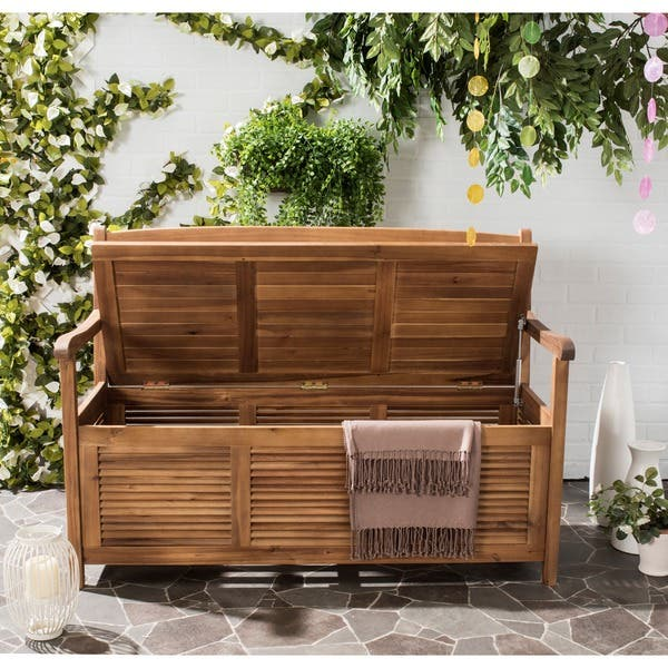 Brilliant Shop Safavieh Outdoor Living Brisbane Brown Storage Bench Lamtechconsult Wood Chair Design Ideas Lamtechconsultcom