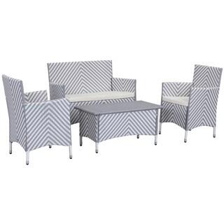 Safavieh Outdoor Living Figueroa Grey/ White Patio Set (4-piece)