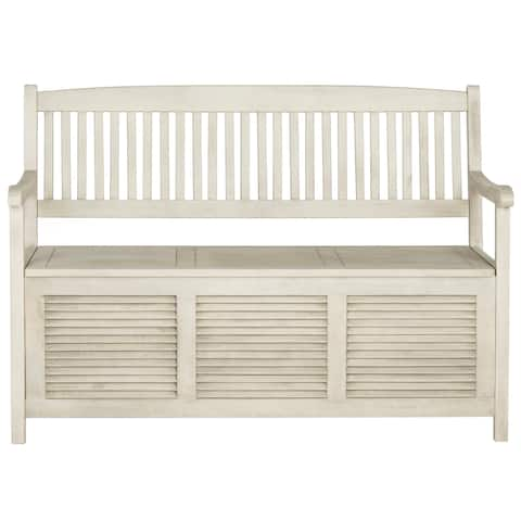 "Safavieh Outdoor Living Brisbane Distressed White Storage Bench - 50"" x 24"" x 35.2"""