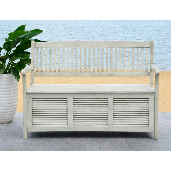 Safavieh Outdoor Living Brisbane Distressed White Storage Bench Free Shipping Today