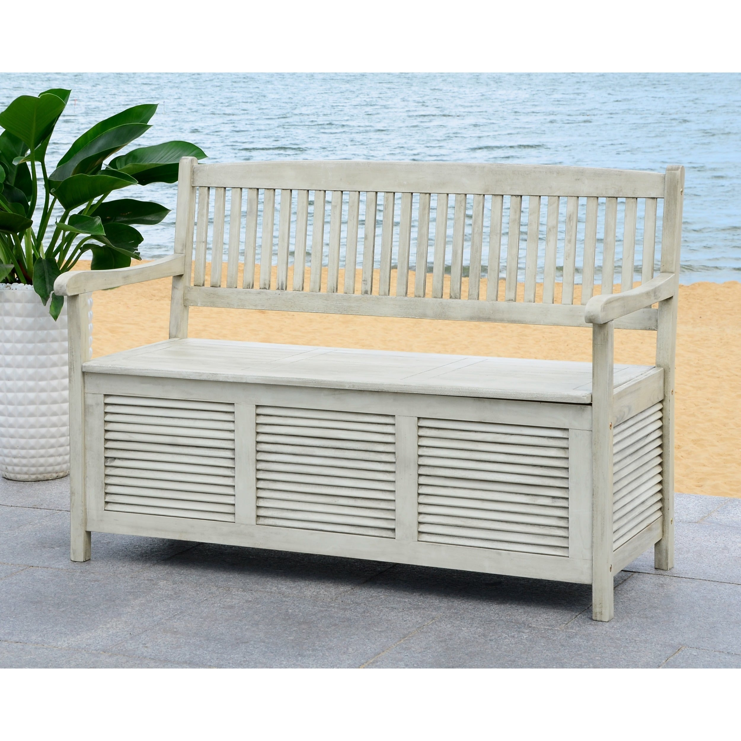 Astonishing Safavieh Outdoor Living Brisbane Distressed White Storage Bench 50 X 24 X 35 2 Gamerscity Chair Design For Home Gamerscityorg