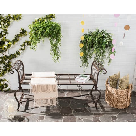 """Safavieh Outdoor Living Rustic Brielle Rustic Brown Iron Bench - 52"""" x 16.3"""" x 25.5"""""""