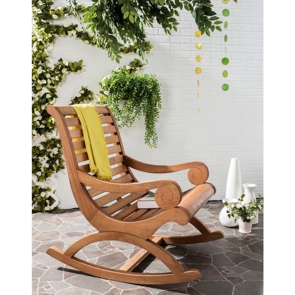 shop safavieh outdoor living sonora brown rocking chair on sale