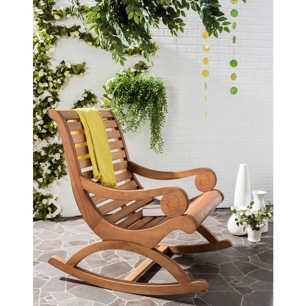 Safavieh Outdoor Living Sonora Teak Brown Rocking Chair