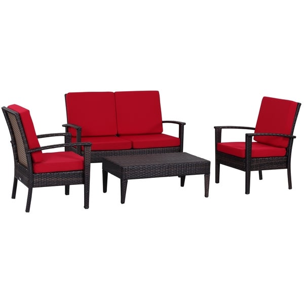 Safavieh Outdoor Living Myers Brown/ Red Patio Set (4 Piece)
