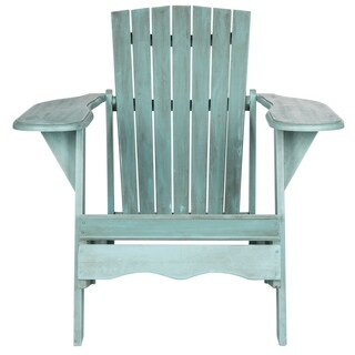 Safavieh Outdoor Living Mopani Adirondack Beach House Blue Acacia Wood Chair