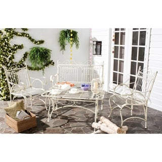 Safavieh Outdoor Living Rustic Leah Antique White Iron Patio Set (4-piece)