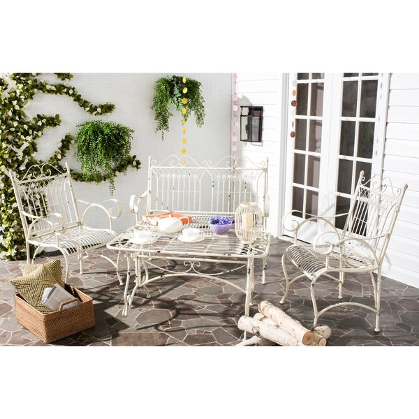 Safavieh Outdoor Living Rustic Leah Antique White Iron Patio Set (4 Piece)